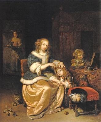 カスパル・ネッチェル《子供の髪を梳く母のいる室内》