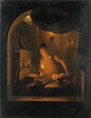 アドリアーン・ムーレマンス《ランプの明りに照らされた台所》
