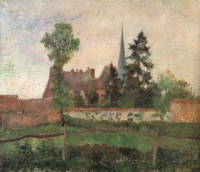 カミーユ・ピサロ《エラニーの教会と農園》(群馬県立近代美術館蔵)