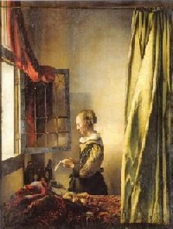 フェルメール《窓辺で手紙を読む若い女》(ドレスデン国立美術館蔵)