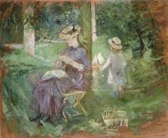ベルト・モリゾ《庭で裁縫をする若い女性》