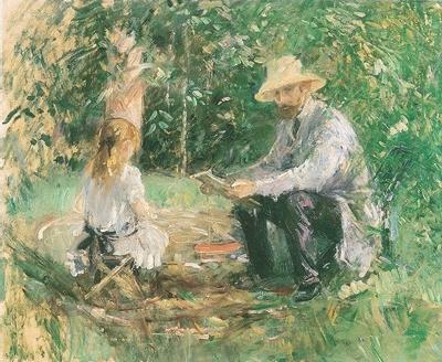 《庭のウジェーヌ・マネと娘》