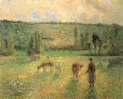 カミーユ・ピサロ《エラニーの牛を追う娘》(埼玉県立近代美術館蔵)