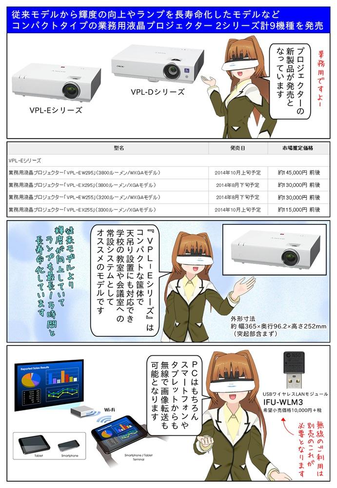 ソニー業務用液晶プロジェクター VPL-Eシリーズ VPL-EW295/EX295/EW255/VPL-EX255 を発売