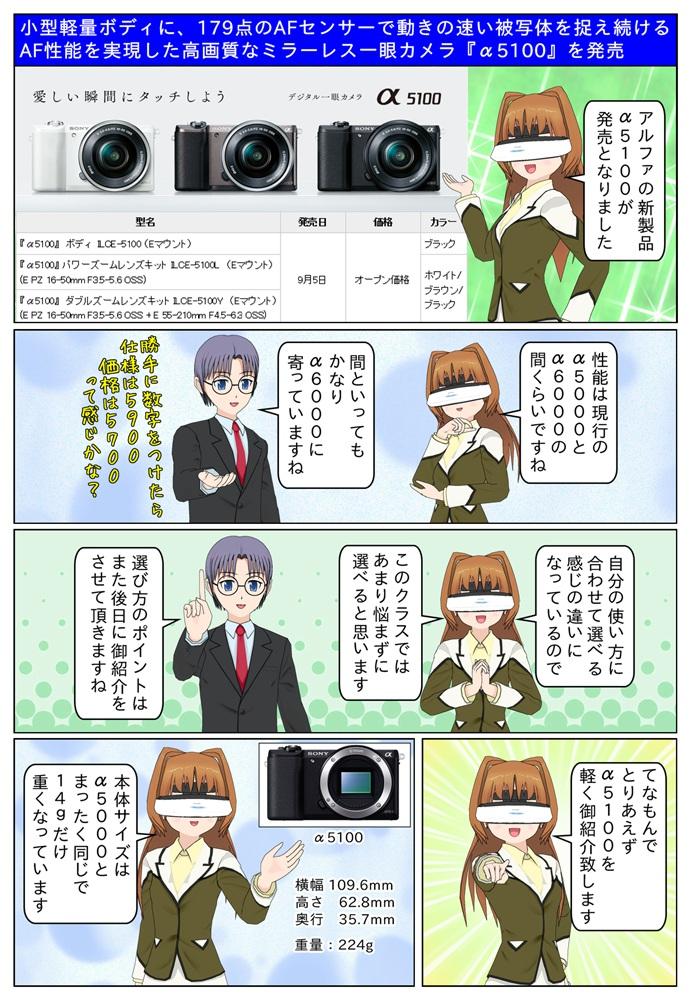 ソニー ミラーレス一眼カメラの新製品『α5100』を発売。型名はILCE-5100/ILCE-5100L/ILCE-5100Yとなっています
