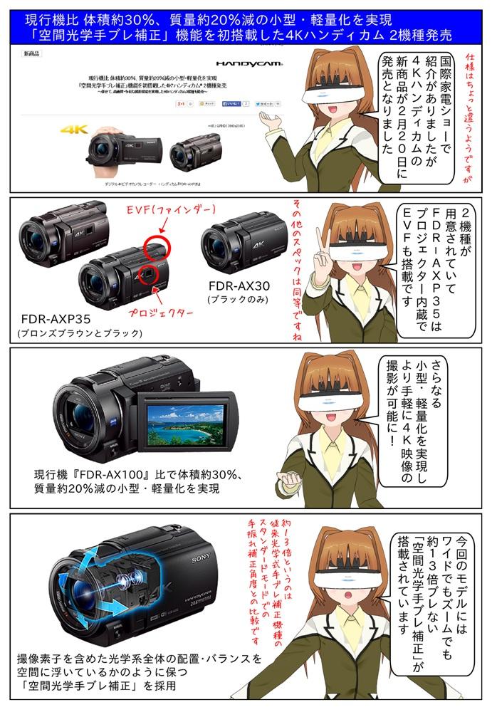 「空間光学手ブレ補正」搭載の4Kハンディカム にFDR-AX30とプロジェクター内蔵・EVF搭載のFDR-AXP35の2機種が発売