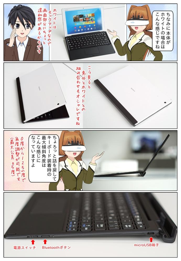 SGP712JP/W ホワイトモデルとXperia Z4 Tablet専用のBluetoothキーボード BKB50の組み合わせもなかなか良いですね。