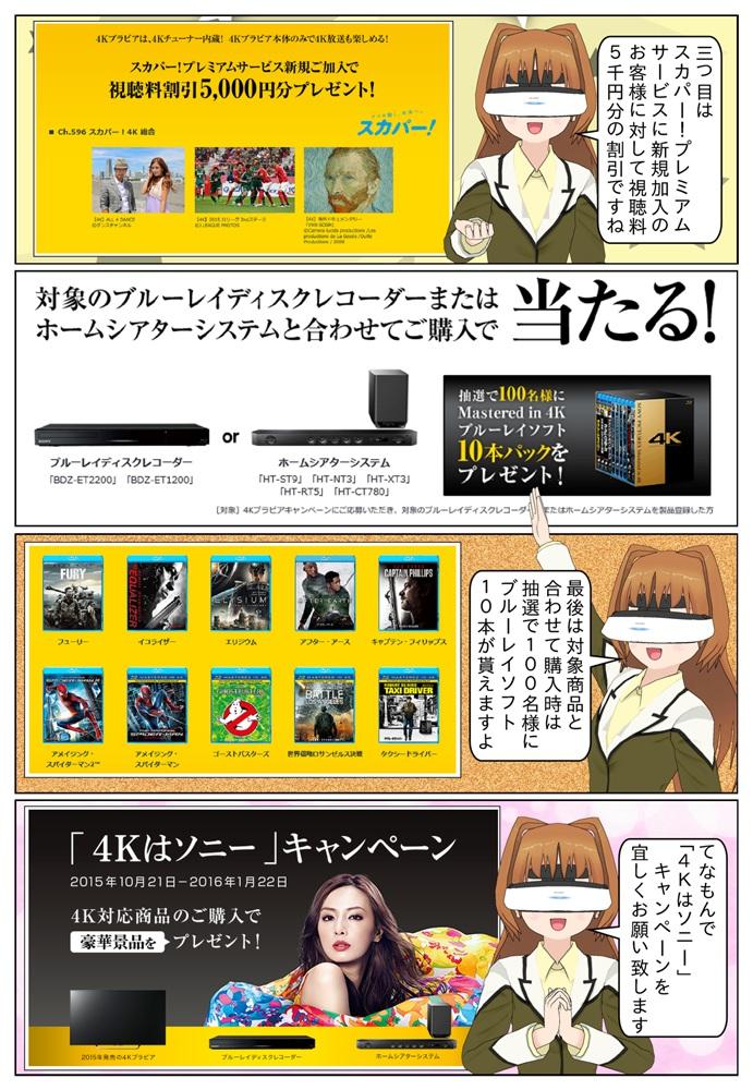 ブルーレイソフトの他に、Google Play クーポンコードが最大5千円分が貰えます。また、4K液晶テレビと対象商品と合わせて御購入の場合、抽選で100名様にMastered in 4Kブルーレイソフト10本パックが当たります。