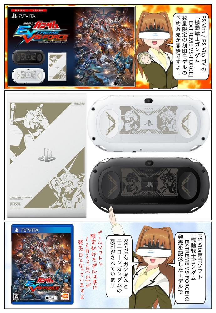 PS Vita用ソフト「機動戦士ガンダム EXTREME VS-FORCE」の発売を記念して、数量限定で「RX-78-2 ガンダム」と「ユニコーンガンダム」を刻印したPlayStation Vita/ PlayStation Vita TVの限定モデルの先行予約販売が開始致しました。