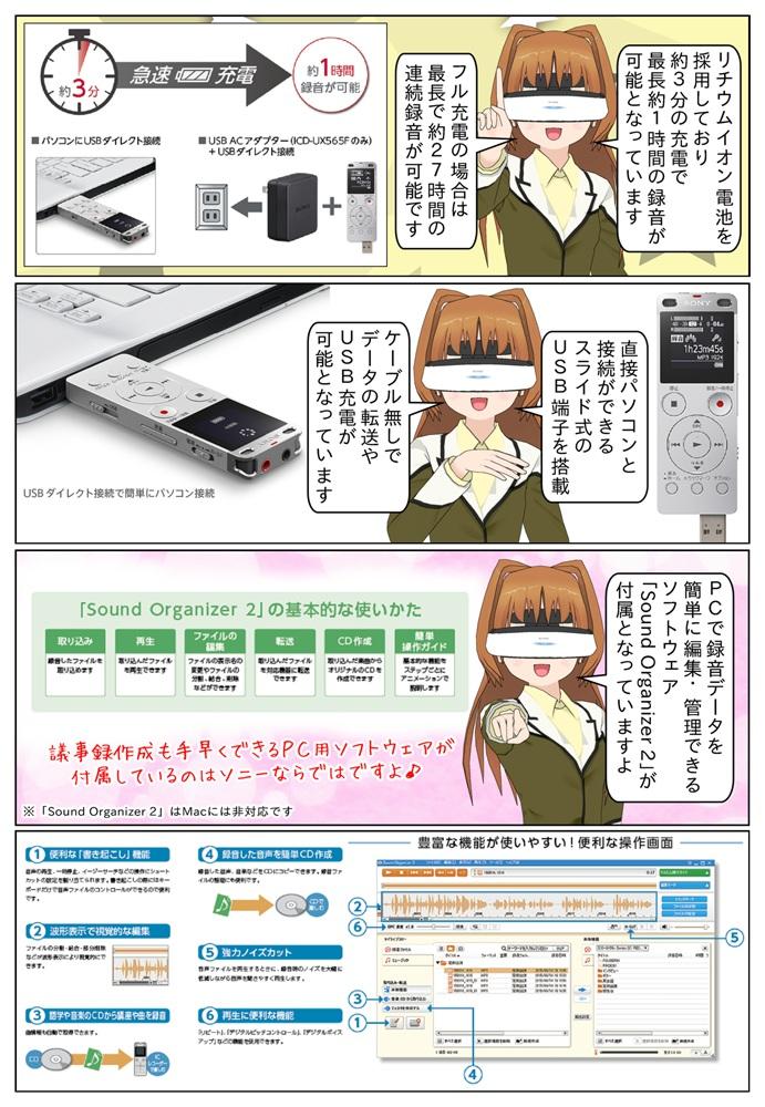 SONYのICD-UX560Fシリーズは長時間の連続録音が可能。スライド式USB端子を搭載でパソコンと簡単に接続。音声編集・管理ソフトSound Organizer 2 も付属しています。
