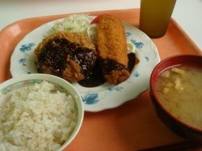 いかフライ&メンチカツ・サマランス米・お揚げの味噌汁
