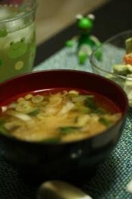 小松菜とネギのお味噌汁