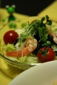 レタス・プチトマト・わかめ・エビ・カイワレ大根のサラダ