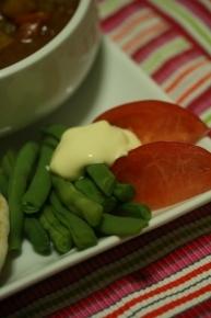 茹でただけインゲンと切っただけトマト