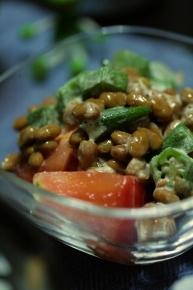 オクラ納豆トマト