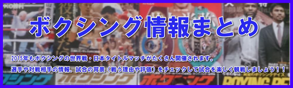 ボクシング情報(日程・戦績・結果・コメント)まとめ