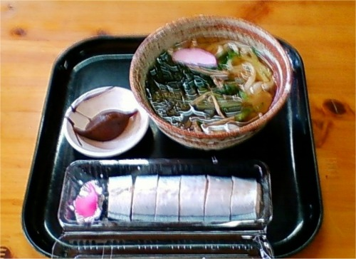 s-08.11.28 昼食 さんま寿司 山菜うどん.jpg