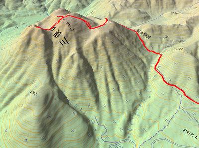 三俣山の足跡