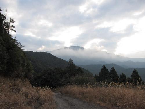 登山道に向かう林道から