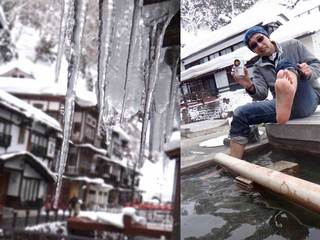 110322東北の旅・銀山温泉氷柱と足湯