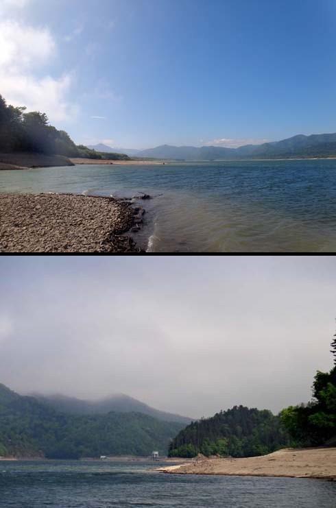 糠平湖はダム湖なんです。