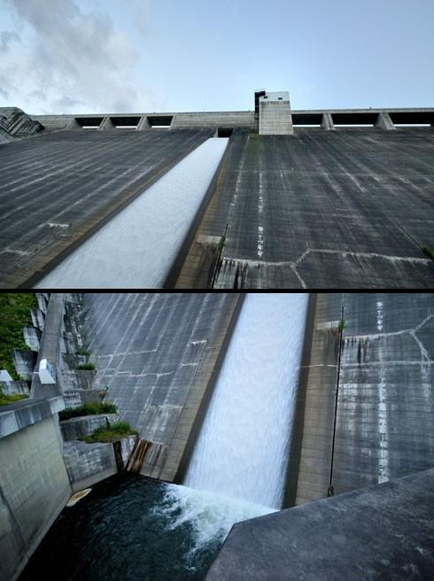 水は壁を滑るよーに落ちていきます。