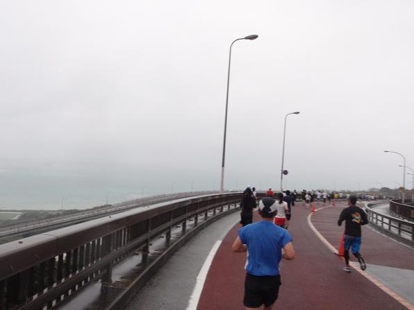 この橋は緩やかな下り坂なんで走りやすかったですねー。この区間は1km5分切ってたと思います。