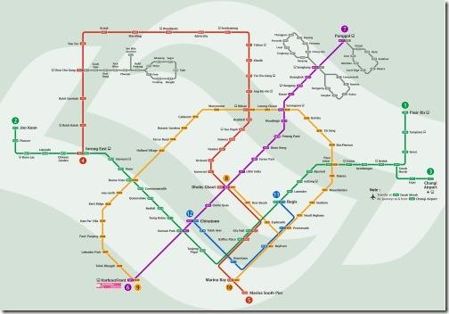 シンガポールMRTの路線図全体