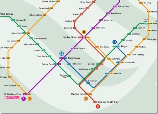 シンガポールのMRT路線図中心部