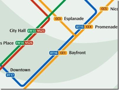 シンガポールのMRT駅ベイフロント路線図