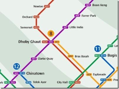 シンガポールのMRT駅ドービーゴート路線図