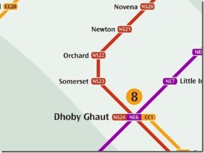 シンガポールのMRT駅オーチャード路線図