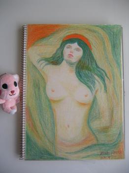 ムンクの代表作『マドンナ』を色鉛筆で模写.jpg