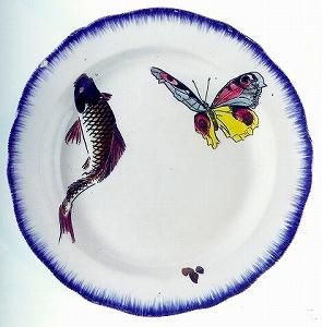 セルヴィス・ルソー 「深皿 鯉に蝶図」.jpg