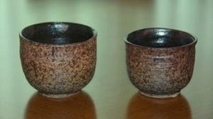 黒マット掛けの湯呑茶碗