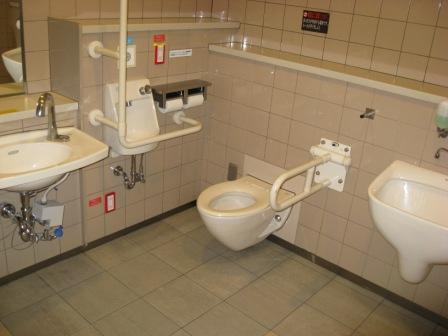 東急大井町線改札内車いす対応トイレの写真(内部)