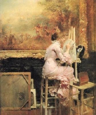 パスカル=アドルフ=ジャン・ダニャン=ブーヴレ《ルーヴル美術館の若い水彩画家》