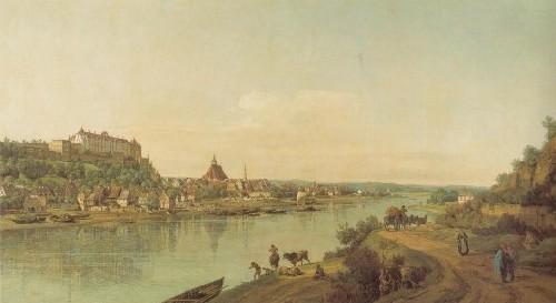 ベルナルド・ベロット《ポスタの近く、エルベ河右岸の街道から眺めたピルナ》(ドレスデン国立美術館蔵)