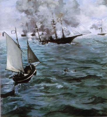 エドゥアール・マネ《キアサージ号とアラバマ号の海戦》